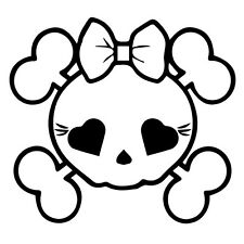 Skull Bones Girl Car Window Decor vinyl wall decal quote sticker Cute Girlie