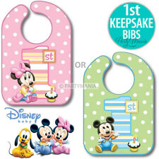 MINNIE MOUSE OR MICKEY MOUSE 1ST FIRST BIRTHDAY PARTY SUPPLIES KEEPSAKE BIB