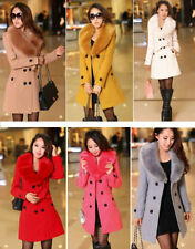 Women's Wool Slim Double-Breasted Trench Parka Faux Fur Winter Coat Jacket 6-14