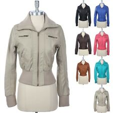 Women's Faux Leather PU Motorcycle Rider Bomber Jacket Zippered High Neck S M L