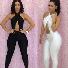 Fashion Women Sexy Bodycon Bandage Sleeveless Tight Waist Jumpsuit Exposed dress