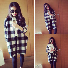 New Women Casual Plaid Oversized Blouse Cardigans Long Sleeve Button Down Shirts