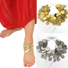Belly Dance tribal Gypsy Costume Jewelry Silver Gold Plated Metal Coin Anklet