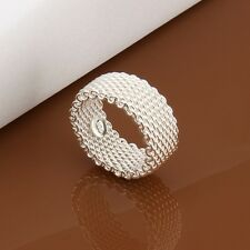 New Women 925 Sterling Silver Plated Mesh Plain Solid  Band Ring Jewelry US Size