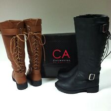 NEW CA Collection Carrini RB054 Women's Riding Boots Lace Up Back BLACK COGNAC