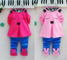 Baby Girls Kids Bunny Rabbit Long Sleeve T shirt Tops Clothes Pants Outfits Set