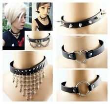 Punk Gothic Black Leather Necklace Heart Pendant Chain Spike Studded Choker Rock