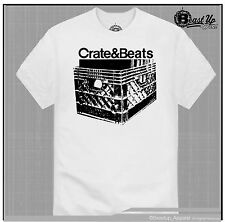 CRATE & BEATS  T SHIRT  TURNTABLE DJ CLASSIC TECHNICS  1200 MPC HIP HOP MIXER