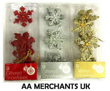 Christmas Tree / Room Decorations - Pack of 9 Glitter Snowflakes