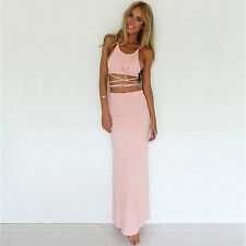 Women's Summer Crop Top And Skirt Set Sexy Bodycon 2 Piece Outfit For Club Party