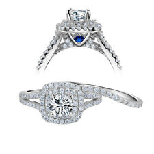 1.8ct Round White Cz Blue 925 Sterling Silver Wedding Engagement Ring Set 5-10