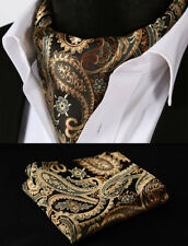 RF401D Gold Orange Paisley Silk Cravat Scarves Ascot tie Hanky Handkerchief Set