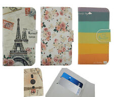 For Samsung Phone Cover Case Rainbow Flowers Eiffel Tower Skin Card Holder Pouch