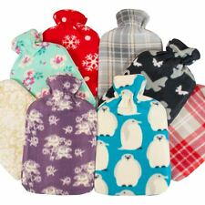 Large Hot Water Bottle In Luxury Printed Fleece Cover