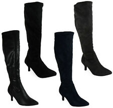 NEW WOMENS LADIES MID-CALF ZIP FASHION FAUX SUEDE HEEL KITTEN BOOTS SHOES SIZE