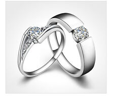 Mens Womens Couple Lovers Crystal Solid Silver Rings Wedding Band Promise Ring