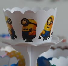 "12 Kids Bday Party ""MINIONS"" Cupcake Wrappers - WORLDWIDE FREE SHIPPING"
