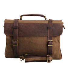 Vintage Attache Leather Mens Messenger Bags Canvas 15 In Laptop Cases Briefcase