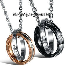 DOUBLE RING NECKLACE LOVE XMAS PRESENT GIFT FOR HER HIM WIFE HUSBAND WOMEN MEN