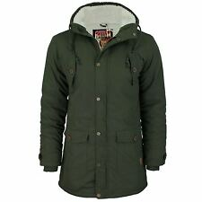 Mens Hooded Parka Jacket Tokyo Laundry Iguana Sherpa Fleece lined Fish Tail Coat