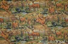 Forest Wildlife Nature Animals Deer Turkey Cafe Tiers Curtains Panels Drapes NEW