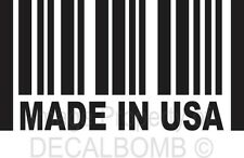 Made In USA Barcode Decal Sticker Oval Viny rzr Turbo Window Diesel America