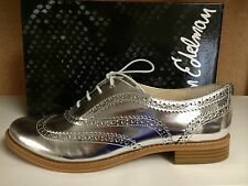 Sam Edelman Jerome Women's Wingtip Oxfords Loafers Lace Up Shoes Silver Gold