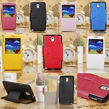PU Leather Case Cover For Samsung Galaxy Note III 3 N9000  with watch screen