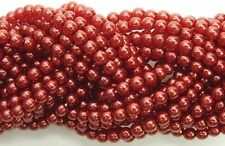 Czech Round Glass Imitation loose Pearls, Carnelian Red nacre pearl color