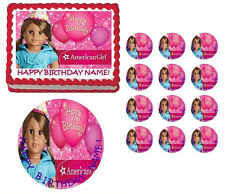 American Girl Doll Brown Hair Birthday Edible Cake Topper Image - All Sizes
