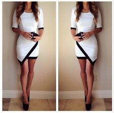 White Black Trim 3/4 Elbow Sleeve Asymmetrical Contrast Scoop Hot Mini Dress NWT