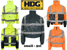 High Vis Safety Waterproof Security Padded Winter Warm Bomber Jacket Coat