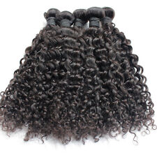 100g 5A Remy Brazilian Virgin Human Hair Extension Curly Wave 1B Black Weft Wavy