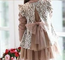 New girl dress 2T-6 brown white lace bow vintage fall autumn winter Thanksgiving