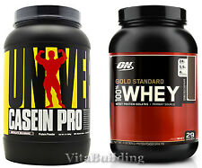 Gold Standard Whey and Casein Pro 2Lbs Protein Powders, Stack,Optimum,Universal,