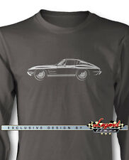 Chevrolet Corvette 1963 Split Window Long Sleeves T-Shirt  Multiple Colors Sizes