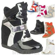 Wedge Trainers Women Girls Celebrity High Hi Tops Ankle Sneakers Size