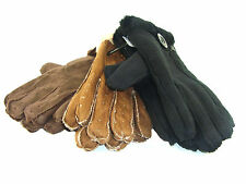 LADIES FAUX SUEDE WINTER FUR CUFF LINED GLOVES ONE SIZE BLACK TAN BROWN NEW