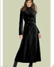 New Womens Slim Fit Double Breasted Super Long Coat Lapel Wool Blend Overcoat