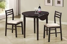 Dining Set 3 pc Table Chairs Small Compact Apartment Kitchen Furniture Bistro