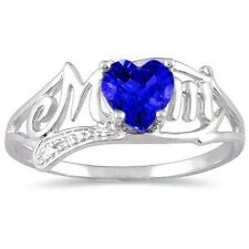0.50 Ct Blue Sapphire & Diamond Heart Mom Ring .925 Sterling Silver