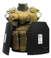 Tactical XL EXO Plate Carrier Package Level 3 Body Armor Plates & MOLLE Pouches