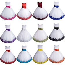 Girls Satin and Removable Rose Petal Flower Girl Pageant Dress - Made In U.S.A
