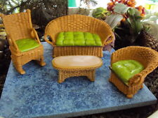 "MINIATURE FAIRY GARDEN ""WICKER SETTEE, CHAIR, TABLE, ROCKING CHAIR"" NEW"