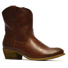 Ladies Womens Mid Block Heel Western Riding Cowboy Biker Ankle Boots Shoes Size