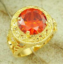 Size 9-11 Red Garnet Antique Jewelry 18K Yellow Gold Filled Mens Solitaire Ring