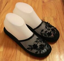 Hot Trendy Womens New Fashion Chinese Sequin Floral Beaded Mesh Black Slippers