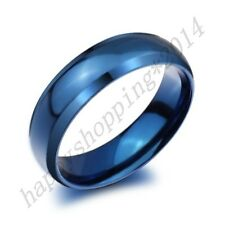 Tungsten Men's Blue Domed Charming Engagement Gift Band Ring Size 4-Size 14