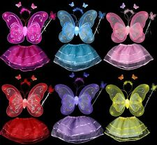Lovely Girl Children Butterfly Wings Fairy Costume Tutu Dress Up Outfits Sets