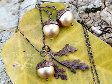 Antiqued Brass Acorn, Oak Leaf Necklace & Earrings Set-  Made w/Swarovki pearls